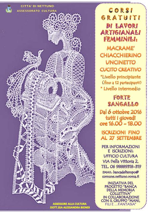 Corsi Gratuti Di Lavori Artigianali Femminili Comune Di Nettuno Rm