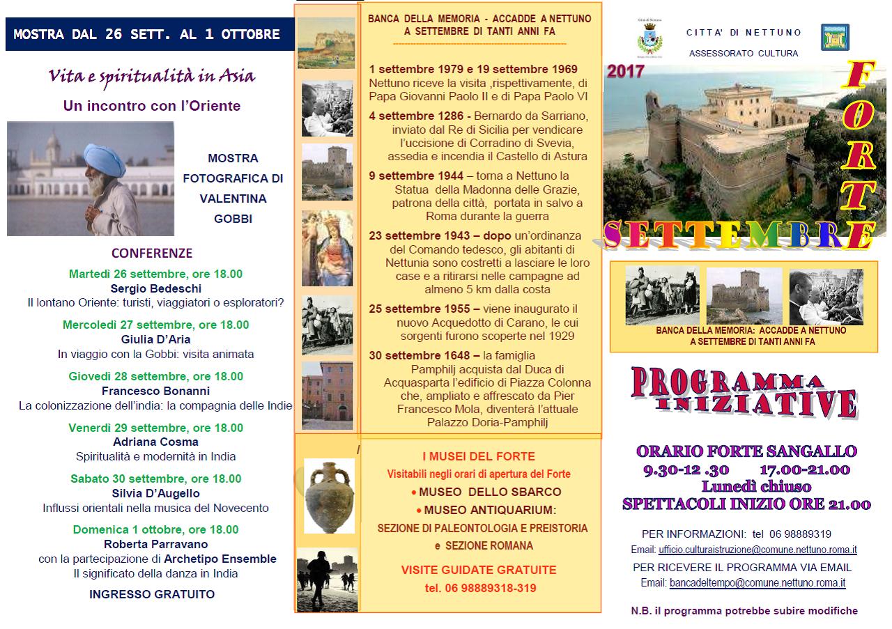 Calendario iniziative al Forte Sangallo